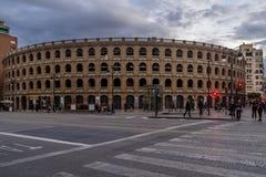 Φως βραδιού Plaza de Toros, Βαλένθια, Ισπανία Στοκ φωτογραφία με δικαίωμα ελεύθερης χρήσης