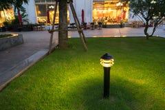 Φως διακοσμήσεων πυράκτωσης κήπων στο πάρκο τη νύχτα Στοκ εικόνα με δικαίωμα ελεύθερης χρήσης