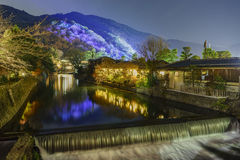 Φως επάνω και ελαφρύ φεστιβάλ στην περιοχή Arashiyama Στοκ φωτογραφία με δικαίωμα ελεύθερης χρήσης