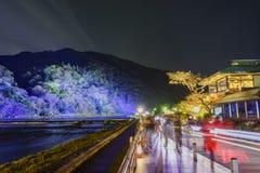 Φως επάνω και ελαφρύ φεστιβάλ στην περιοχή Arashiyama Στοκ Εικόνα
