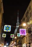 Φως και τέχνη μέσα μέσω Montebello στο Τορίνο, Ιταλία Στοκ φωτογραφία με δικαίωμα ελεύθερης χρήσης