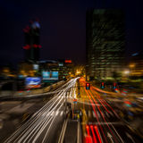 Φως νύχτας πόλεων του Μιλάνου Στοκ φωτογραφίες με δικαίωμα ελεύθερης χρήσης