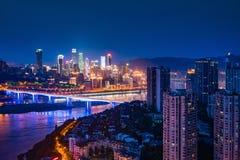 Φως νύχτας πόλεων Chongqing Στοκ Εικόνα