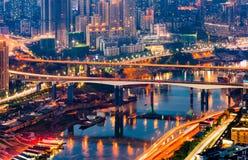 Φως νύχτας πόλεων Chongqing Στοκ Φωτογραφίες