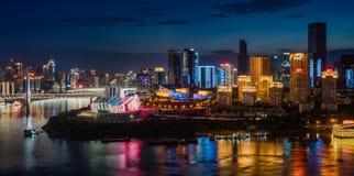 Φως νύχτας πόλεων Chongqing στοκ εικόνες