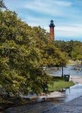 Φως παραλιών Currituck πίσω από το πάρκο κληρονομιάς Currituck στοκ φωτογραφία