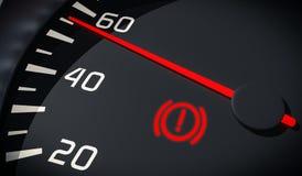 Φως προειδοποίησης συστημάτων φρένων στο ταμπλό αυτοκινήτων απεικόνιση που δίνεται τρισδιάστατη Στοκ Εικόνες