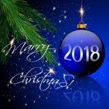 Φως σφαιρών και κεριών Χριστουγέννων, πεύκο Στοκ Εικόνες