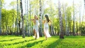 Φως του ήλιου σε δύο νέες γυναίκες στα αισθησιακά φορέματα που χορεύουν στο άλσος σημύδων απόθεμα βίντεο