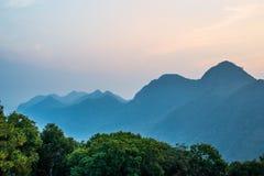 Φως του ηλιοβασιλέματος στο βουνό, ANG Khang Doi Στοκ Φωτογραφία