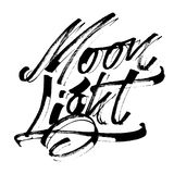 Φως φεγγαριών Σύγχρονη εγγραφή χεριών καλλιγραφίας για την τυπωμένη ύλη Serigraphy Στοκ Εικόνες
