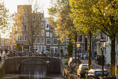 Φως φθινοπώρου στην οδό του Άμστερνταμ Στοκ Εικόνες