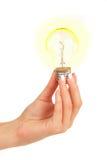 φως χεριών βολβών στοκ εικόνες με δικαίωμα ελεύθερης χρήσης