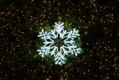 Φως snowflake που διακοσμείται στο χριστουγεννιάτικο δέντρο, σκοτεινό υπόβαθρο Στοκ Εικόνες