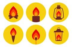 Φωτίζοντας σύνολο εικονιδίων συσκευών πυρκαγιάς Στοκ φωτογραφία με δικαίωμα ελεύθερης χρήσης