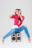 φωτεινά ακουστικά κοριτ& Στοκ Εικόνα