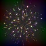 Φωτεινά αφηρημένα εορταστικά πυροτεχνήματα. Ελεύθερη απεικόνιση δικαιώματος
