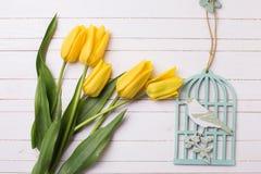 Φωτεινά κίτρινα λουλούδια τουλιπών και διακοσμητικό πουλί στον άσπρο πόνο Στοκ φωτογραφία με δικαίωμα ελεύθερης χρήσης