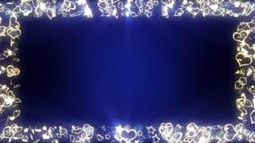 Φωτεινά καρδιές και αστέρια σπινθηρίσματος Έννοια αγάπης και ημέρας βαλεντίνων Ρομαντική νύχτα Χρυσός Μπλε υπόβαθρο Ζωτικότητα βρ ελεύθερη απεικόνιση δικαιώματος