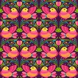 Φωτεινά κόκκινα και κίτρινα πουλιά στο σκοτεινό υπόβαθρο Διανυσματική απεικόνιση