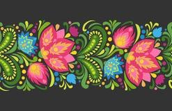 Φωτεινά κόκκινα και μπλε λουλούδια στο σκοτεινό υπόβαθρο Φολκλορική διακόσμηση Διανυσματικά άνευ ραφής σύνορα Διανυσματική απεικόνιση