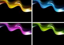 Φωτεινά κύματα στη μαύρη ανασκόπηση Στοκ Εικόνες