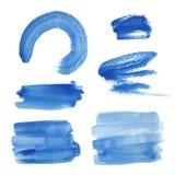 Φωτεινά μπλε κτυπήματα βουρτσών watercolor Στοκ εικόνα με δικαίωμα ελεύθερης χρήσης