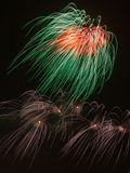 Φωτεινά πυροτεχνήματα Tricolor Στοκ εικόνα με δικαίωμα ελεύθερης χρήσης