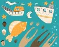 Φωτεινά ωκεάνια στοιχεία σε ένα τυρκουάζ υπόβαθρο διανυσματική απεικόνιση