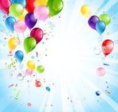 Φωτεινές διακοπές με τα μπαλόνια Στοκ εικόνες με δικαίωμα ελεύθερης χρήσης