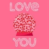 Φωτεινές καρδιές στη σφαίρα και τον χέρι-σχεδιασμό γυαλιού της λέξης αγάπης για τη χρήση στο σχέδιο για τη ευχετήρια κάρτα ημέρας Στοκ εικόνες με δικαίωμα ελεύθερης χρήσης
