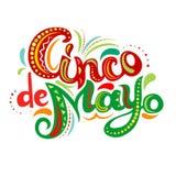 Φωτεινές περίκομψες επιστολές Cinco de Mayo απεικόνιση αποθεμάτων