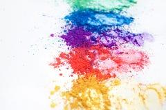 Φωτεινές σκιές ματιών στα διαφορετικά χρώματα του ουράνιου τόξου, που διασκορπίζονται σε ένα άσπρο υπόβαθρο στοκ φωτογραφία με δικαίωμα ελεύθερης χρήσης