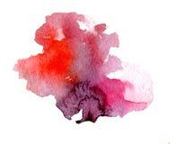 Φωτεινές σταλαγματιές λεκέδων watercolor pink-red Αφηρημένη απεικόνιση σε μια άσπρη ανασκόπηση Στοκ Φωτογραφίες