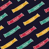Φωτεινές τσάντες της ζάχαρης Άνευ ραφής πρότυπο για το σχέδιό σας στοκ εικόνες