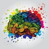 Φωτεινή απεικόνιση ιδέας εγκεφάλου Διανυσματική έννοια Doodle για τον ανθρώπινο εγκέφαλο και τις ιδέες Δημιουργική απεικόνιση ελεύθερη απεικόνιση δικαιώματος