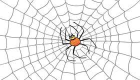 Φωτεινή αράχνη στον ιστό αράχνης του απεικόνιση αποθεμάτων