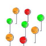 Φωτεινή διασκέδαση και ζωηρόχρωμη τέχνη γεύσεων Lollipop απεικόνιση αποθεμάτων