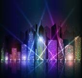 Φωτεινή εικονική παράσταση πόλης νύχτας Στοκ εικόνα με δικαίωμα ελεύθερης χρήσης