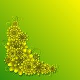 Φωτεινή, ζωηρόχρωμη κάρτα με τα λουλούδια και τις μπούκλες Στοκ Εικόνες