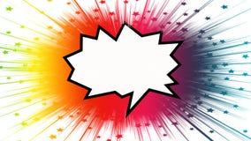Φωτεινή ζωηρόχρωμη λεκτική φυσαλίδα σε ένα υπόβαθρο starburst στοκ εικόνα