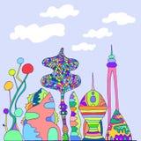 Φωτεινή, ζωηρόχρωμη φανταστική πόλη, ύφος σκίτσων κινούμενων σχεδίων, χέρι Στοκ Φωτογραφία