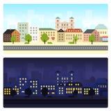 Φωτεινή θερινή εικονική παράσταση πόλης με το μπλε ουρανό Στοκ φωτογραφία με δικαίωμα ελεύθερης χρήσης