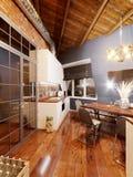 Φωτεινή και άνετη κουζίνα στο ύφος σοφιτών στη σοφίτα απεικόνιση αποθεμάτων