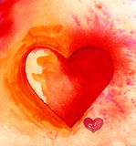 Φωτεινή καρδιά Watercolour Στοκ εικόνες με δικαίωμα ελεύθερης χρήσης