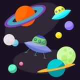 Φωτεινή κοσμική απεικόνιση κινούμενων σχεδίων με το ufo και αστείοι πλανήτες στον ανοιχτό χώρο για τη χρήση στο σχέδιο για την κά διανυσματική απεικόνιση