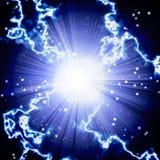 Φωτεινή μπλε λάμψη με την αστραπή Στοκ φωτογραφία με δικαίωμα ελεύθερης χρήσης