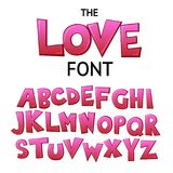 Φωτεινή πηγή γκράφιτι κινούμενων σχεδίων ζωηρόχρωμη κωμική doodle, αλφάβητο αγάπης επίσης corel σύρετε το διάνυσμα απεικόνισης ελεύθερη απεικόνιση δικαιώματος
