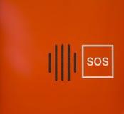 Φωτεινή πορτοκαλιά αφηρημένη συσκευή συμβάσεων έκτακτης ανάγκης ομιλητών SOS Στοκ εικόνα με δικαίωμα ελεύθερης χρήσης