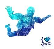 Φωτεινή σκιαγραφία watercolor του αθλητή ελεύθερων πτώσεων με αλεξίπτωτο στα σύννεφα Να ρίξει την αθλητική διανυσματική απεικόνισ ελεύθερη απεικόνιση δικαιώματος